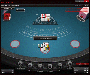 Bovada Blackjack Table